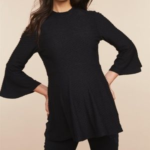 Motherhood Maternity Swiss Dot Bell Sleeve Peplum
